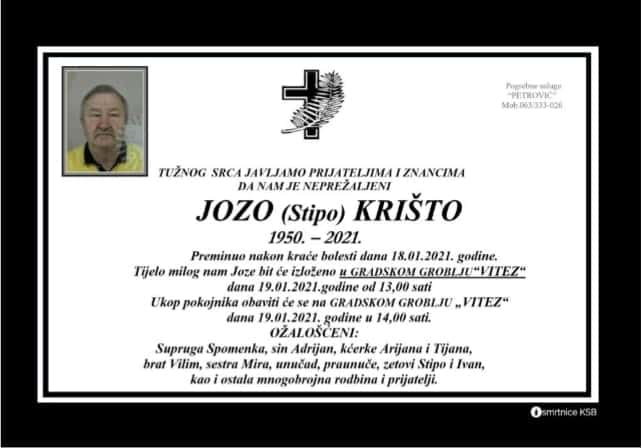Preminuo Jozo Krišto