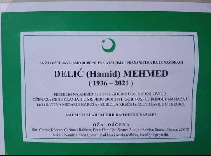 Preminuo Delić Mehmed