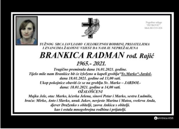 Preminula Brankica Radman