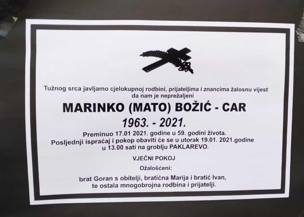 Preminuo Marinko Božić - Car