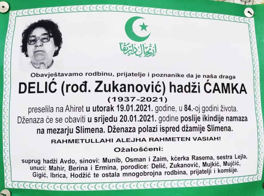 Preminula Delić Ćamka