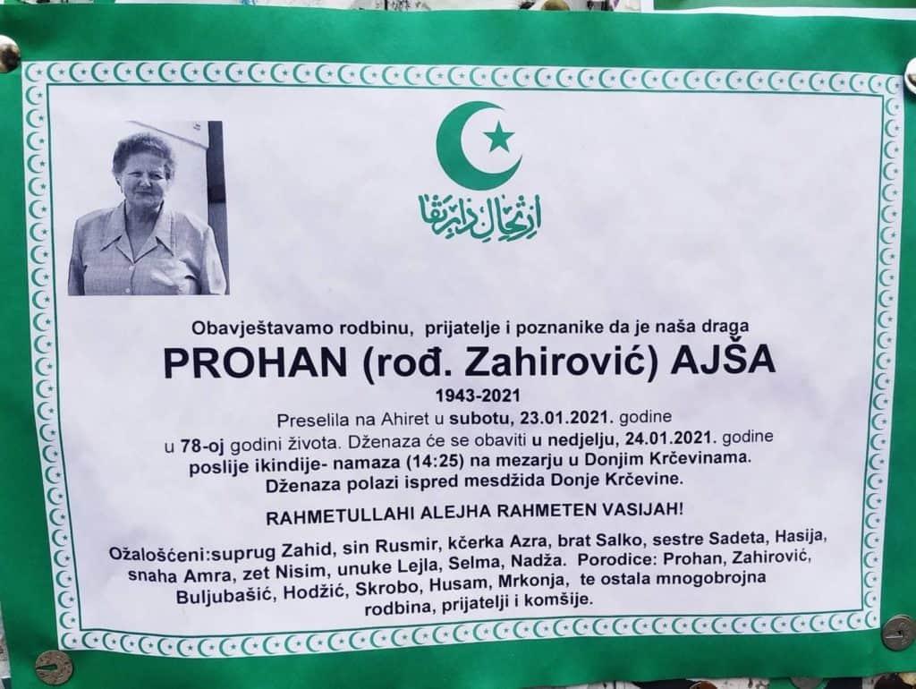 Preminula Ajša Prohan