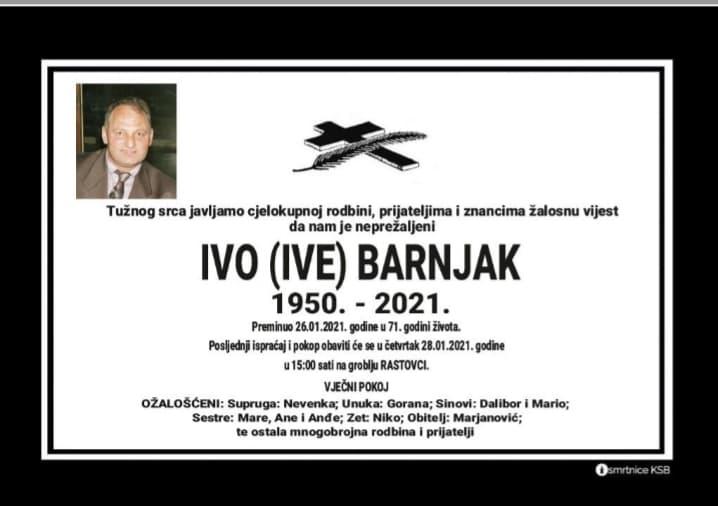 Preminuo Ivo Barnjak
