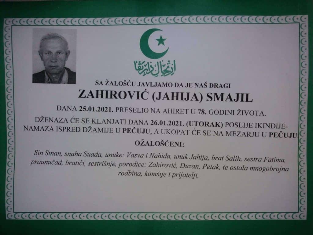 Preminuo Smajil Zahirović