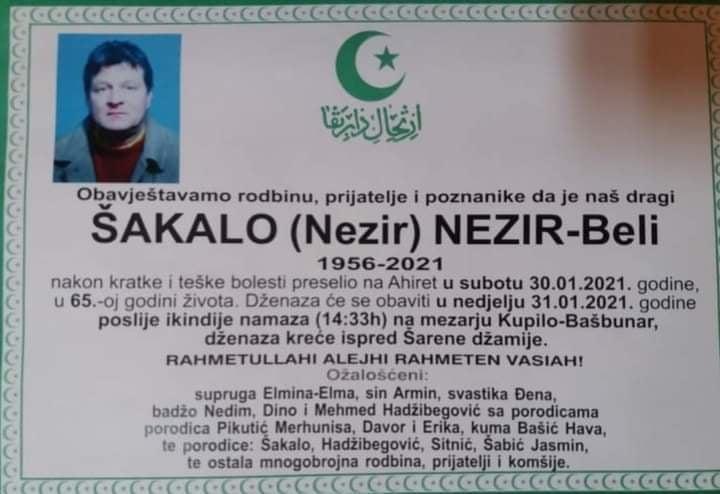 Preminuo Šakalo Nezir