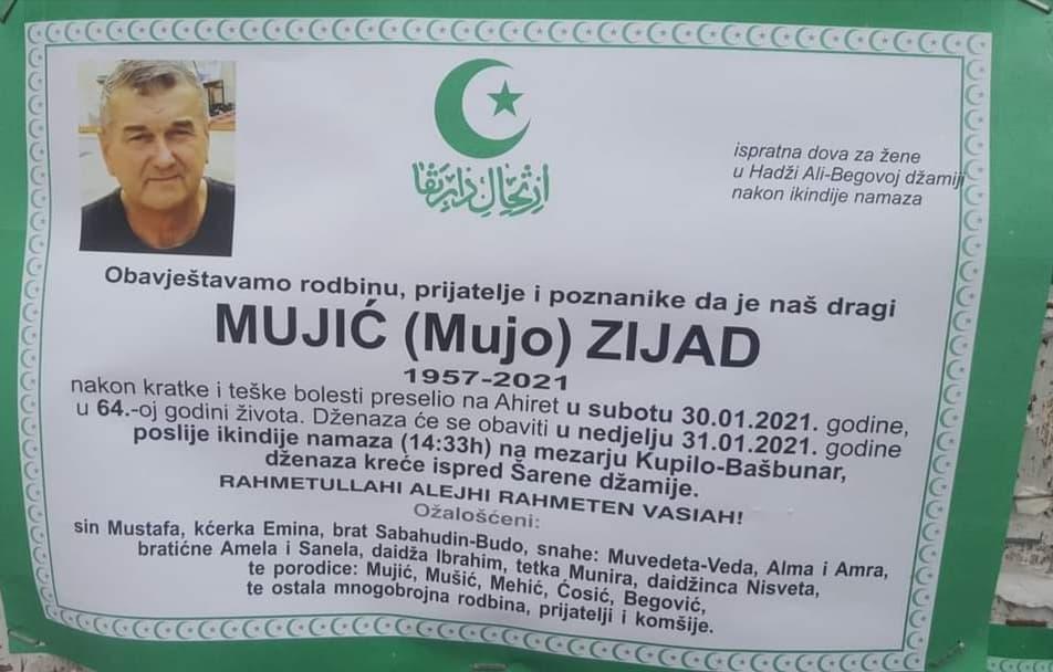 Preminuo Zijad Mujić