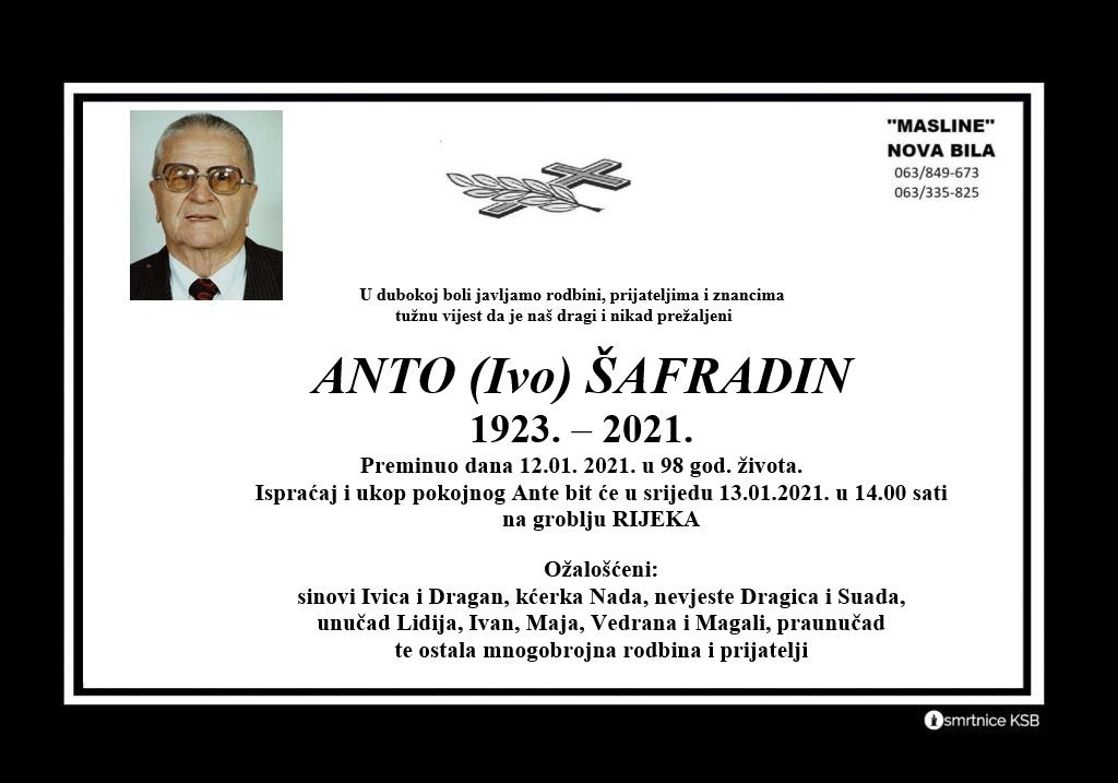 Preminuo Anto Šafradin