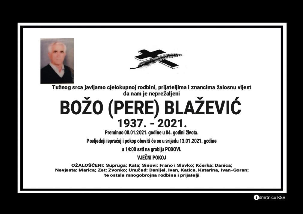 Preminuo Božo (Pere) Blažević