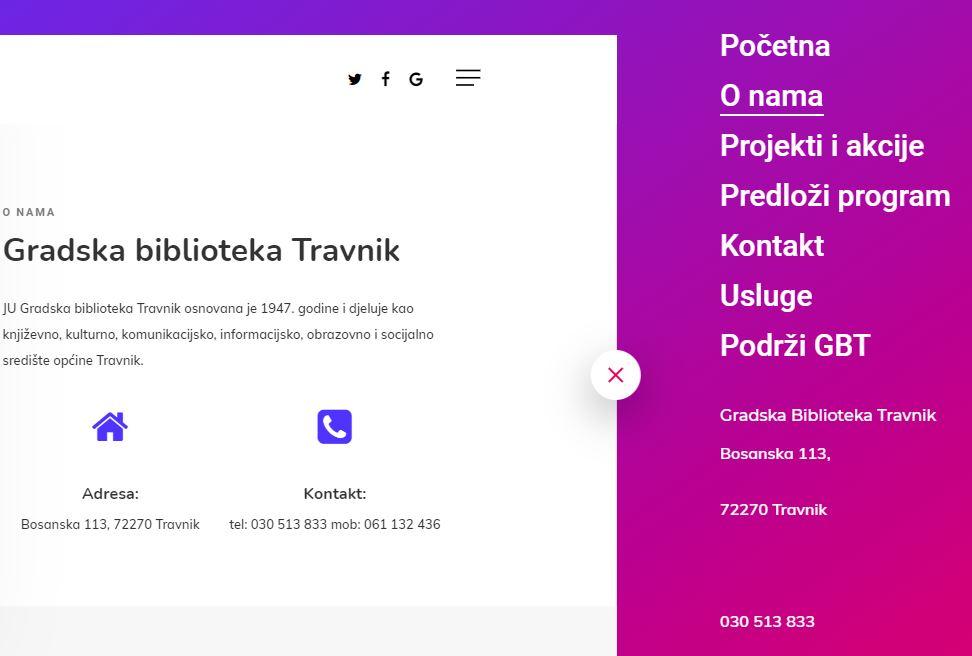 U funkciji web stranica Gradske biblioteke Travnik