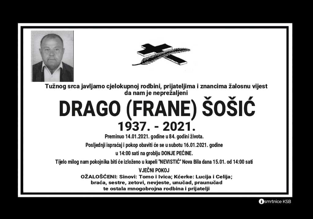 Preminuo Drago Šošić