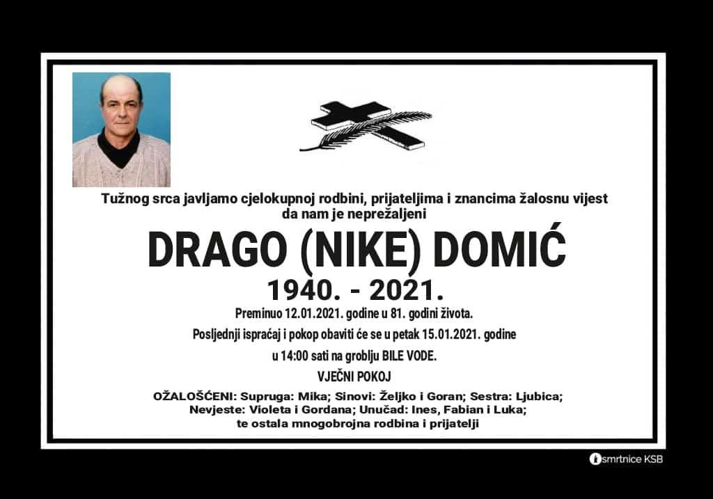 Preminuo Drago Domić