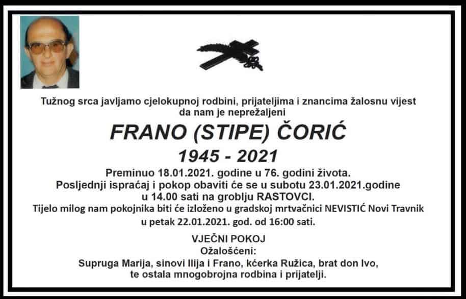 Preminuo Frano Čorić