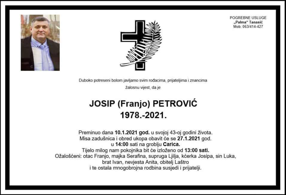 Preminuo Josip Petrović