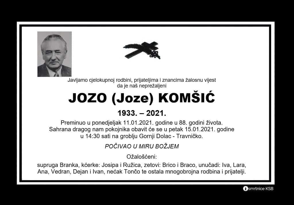 Preminuo Jozo Komšić