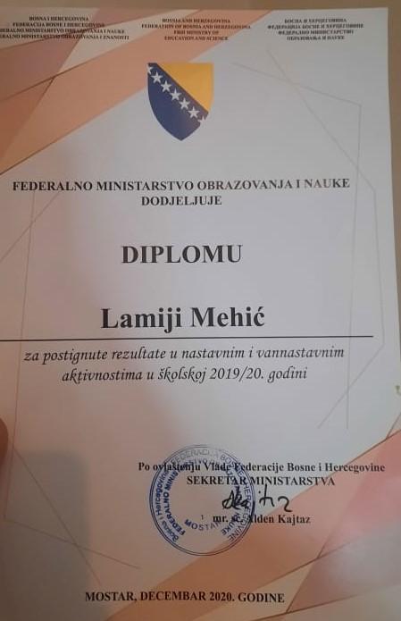 Među najboljim učenicima u Federaciji BiH i Travničanka Mehić Lamija