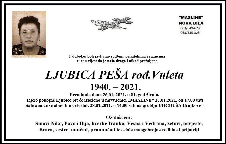 Preminula Ljubica Peša