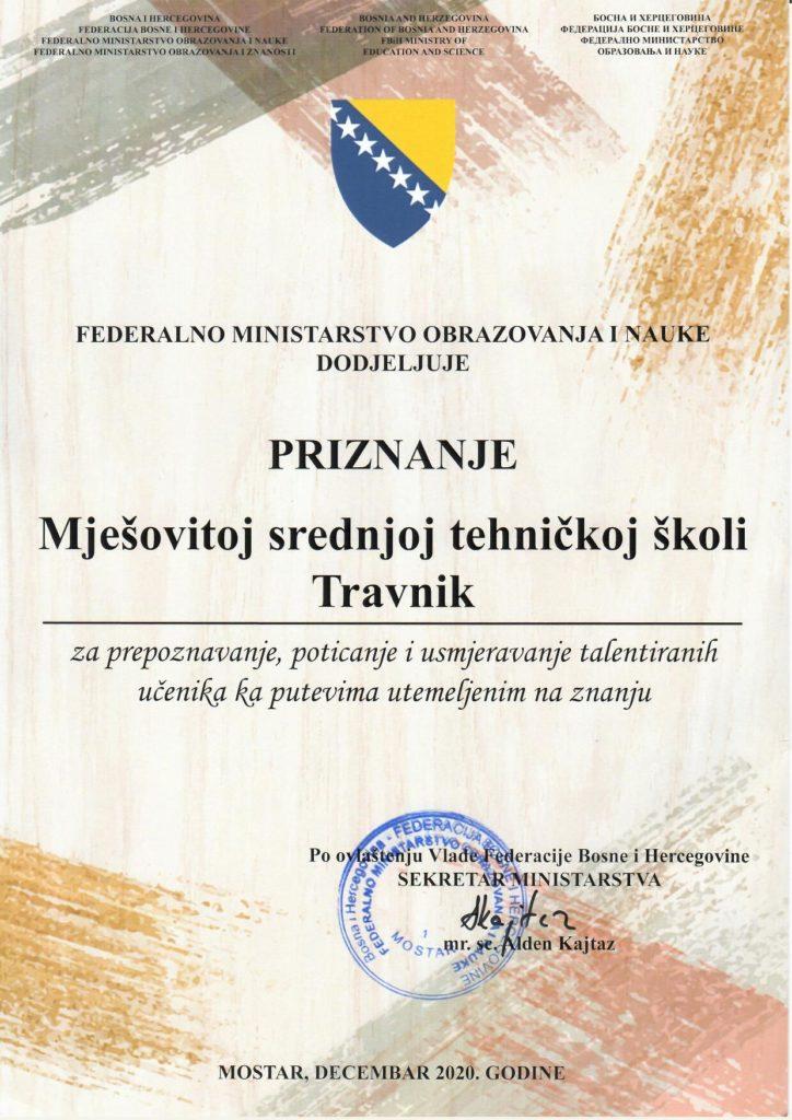 Vrijedno priznanje za MSTŠ Travnik