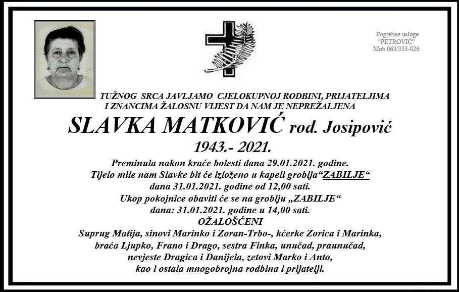 Preminula Slavka Matković