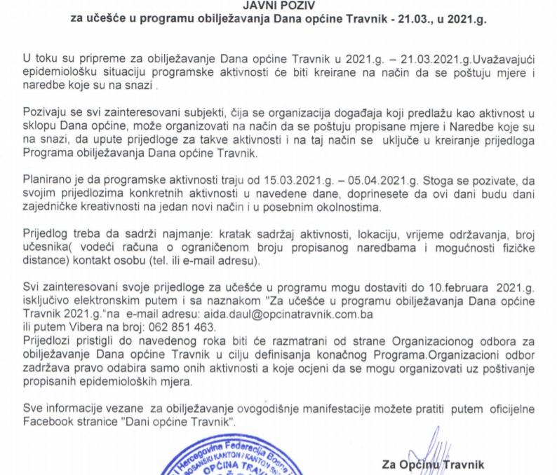 """Poziv za učešće u programu """"Dana općine Travnik 2021"""""""