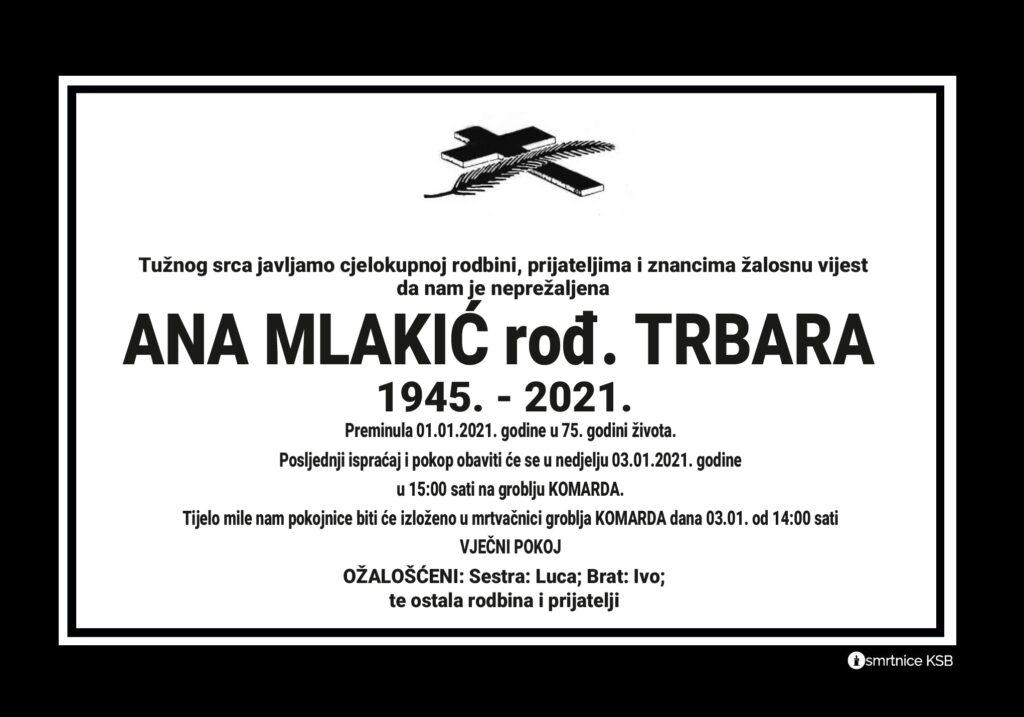 Preminula je Ana Mlakić