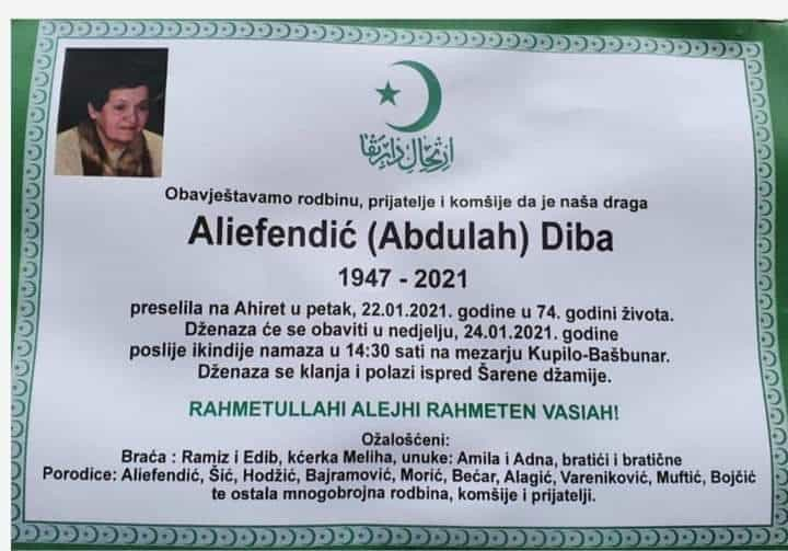 Preminula je Diba Aliefendić