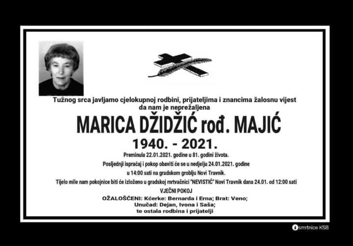 Preminula je Marica Džidžić