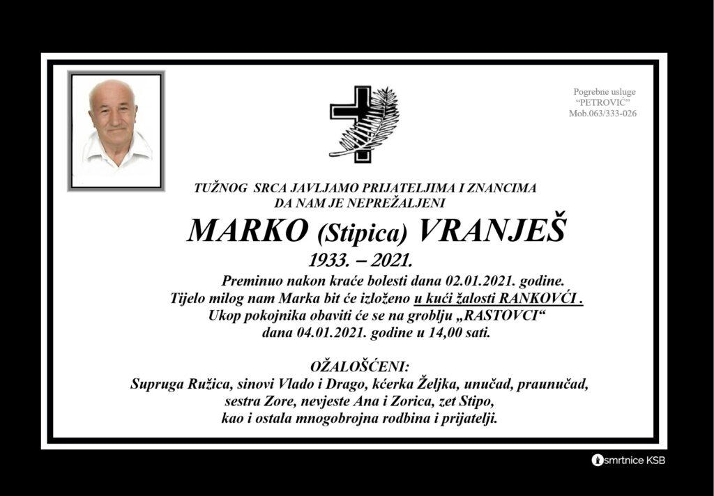 Preminuo je Marko Vanješ