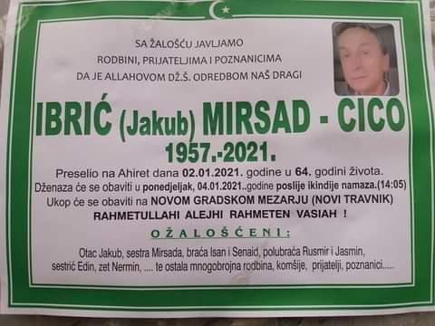 Preminuo je Mirsad Ibrić Cico
