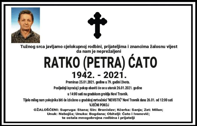 Preminuo Ratko Ćato