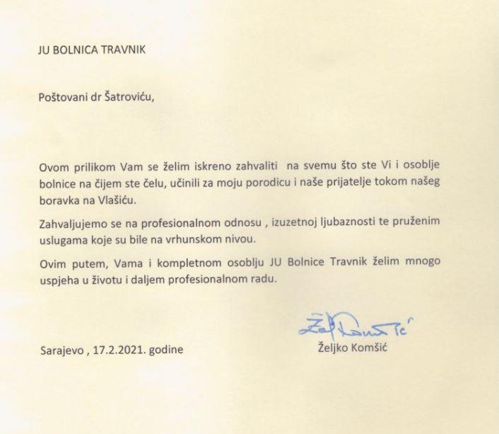Član predsjedništva BiH uputio pismo zahvale Bolnici Travnik i dr. Šatroviću