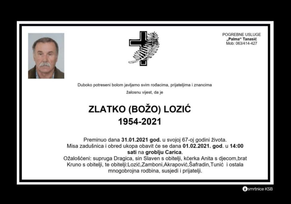 Preminuo Zlatko Lozić