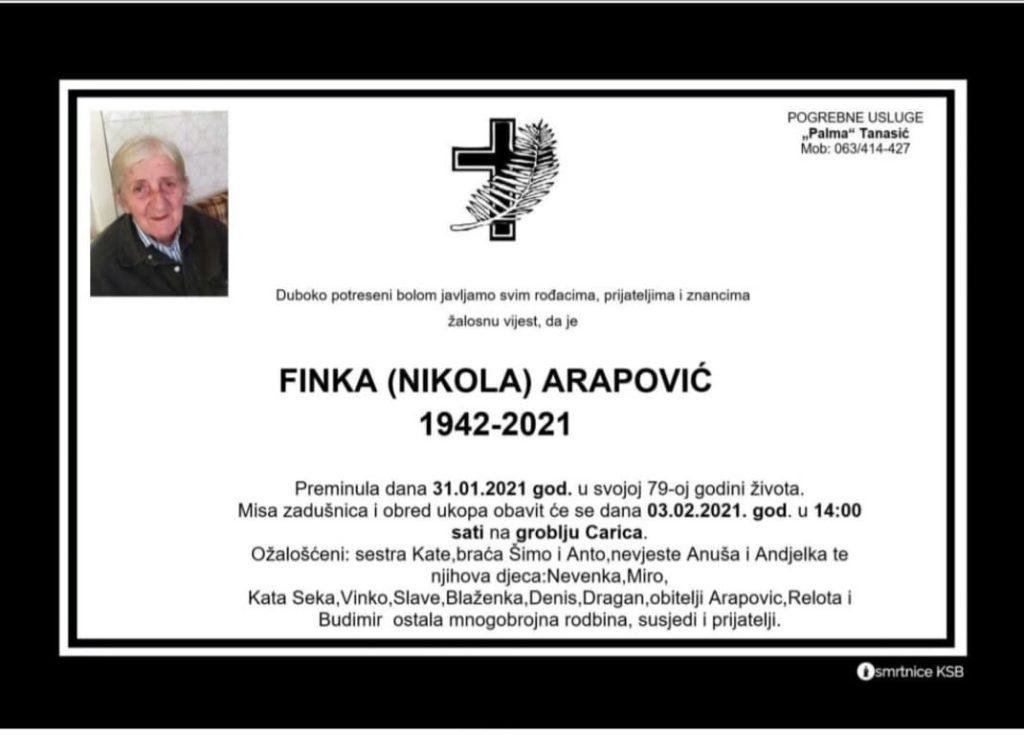 Preminula Finka Arapović