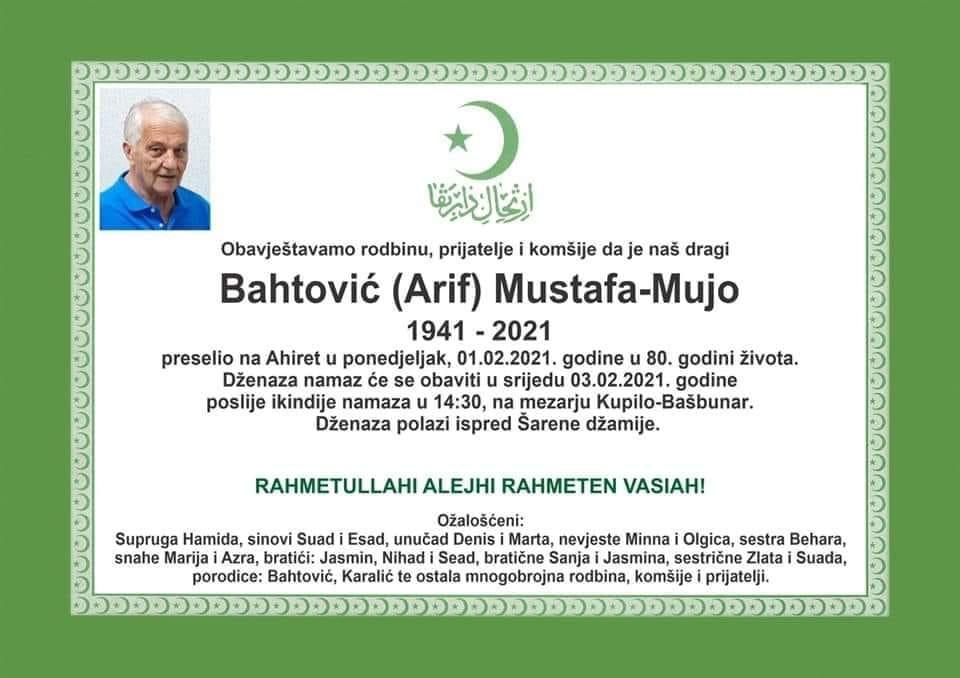 Preminuo Mustafa Bahtović