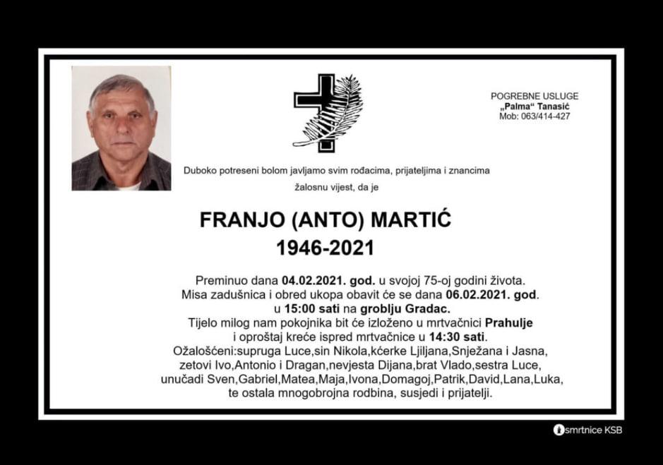 Preminuo Franjo Martić