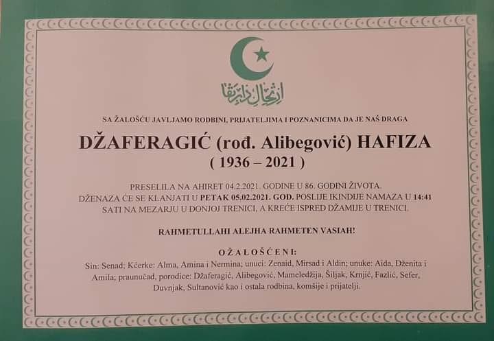 Preminula Džaferagić Hafiza
