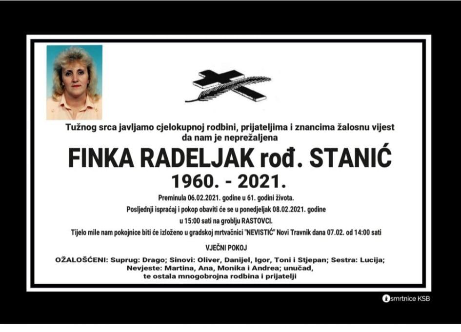 Preminula Finka Radeljak