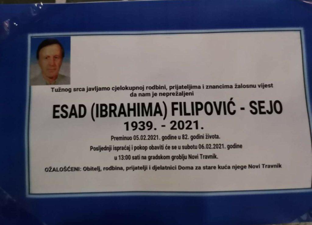 Preminuo Esad Filipović - Sejo