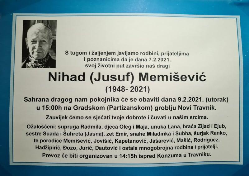 Preminuo Nihad Memišević