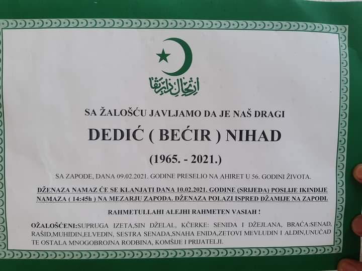 Preminuo Nihad Dedić