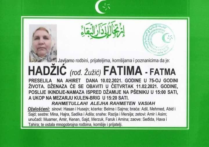 Preminula Fatima Hadžić