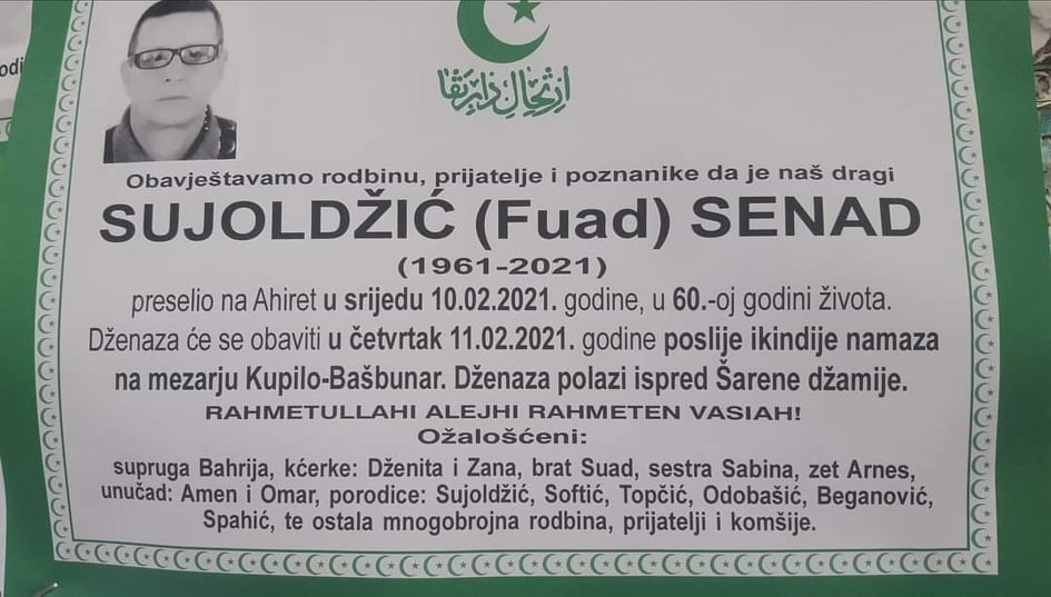 Preminuo Senad Sujoldžić