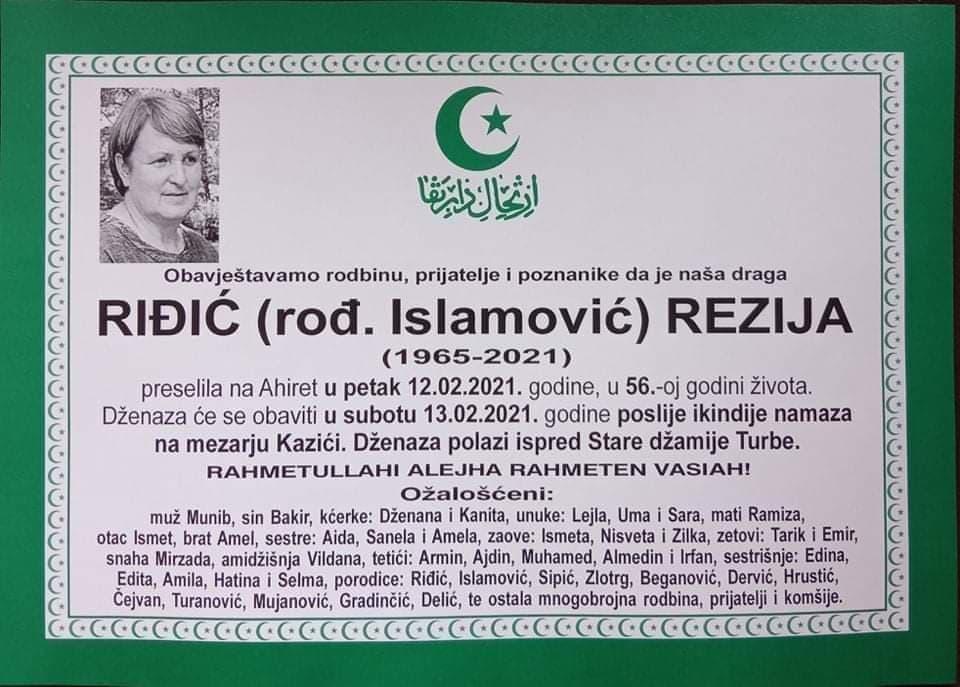 Preminula Riđić Rezija