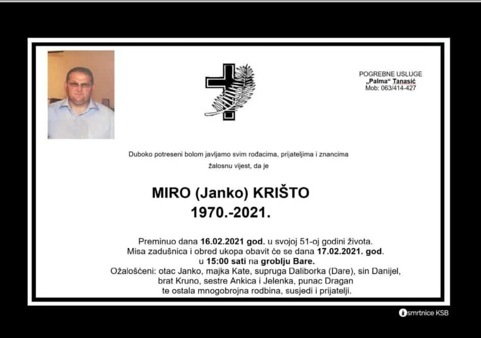 Preminuo Miro Krišto