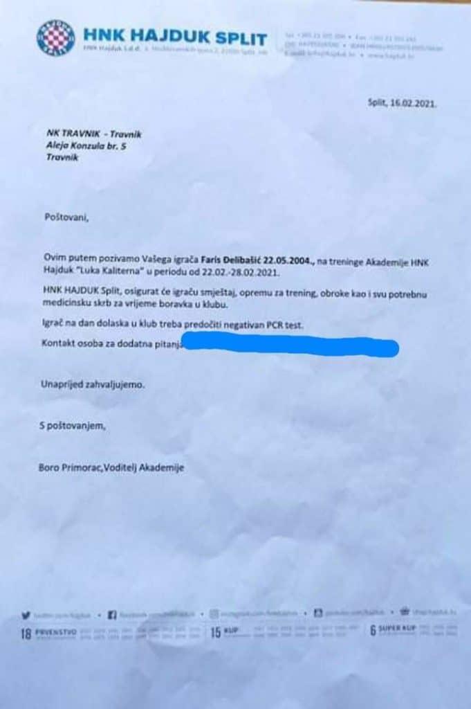 Faris Đelilbašić dobio poziv od HNK Hajduk Split
