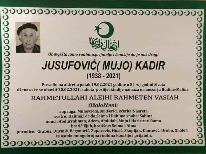 Preminuo Kadir Jusufović