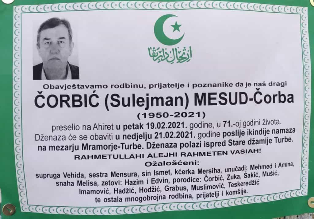 Preminuo Mesud Čorbić