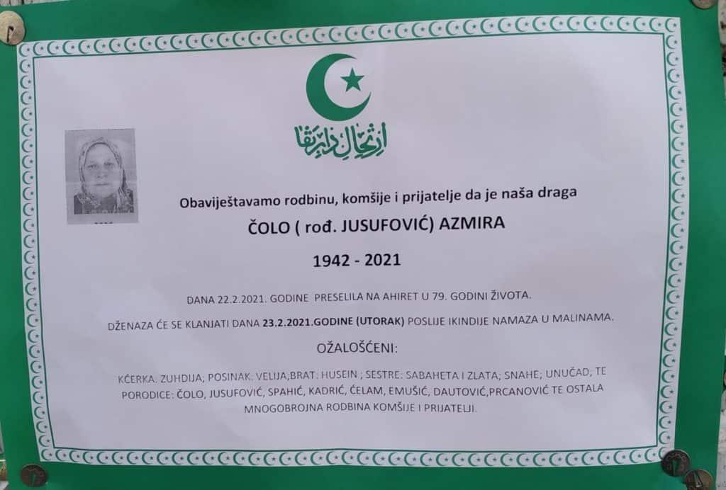 Preminula Azmira Čolo