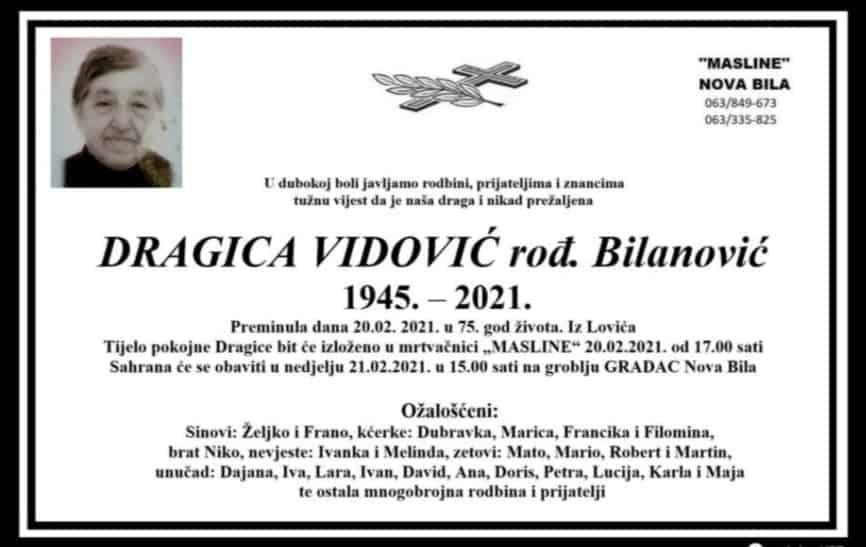 Preminula Dragica Vidović