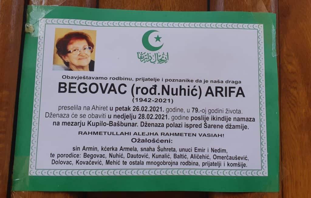 Preminula Begovac Arifa