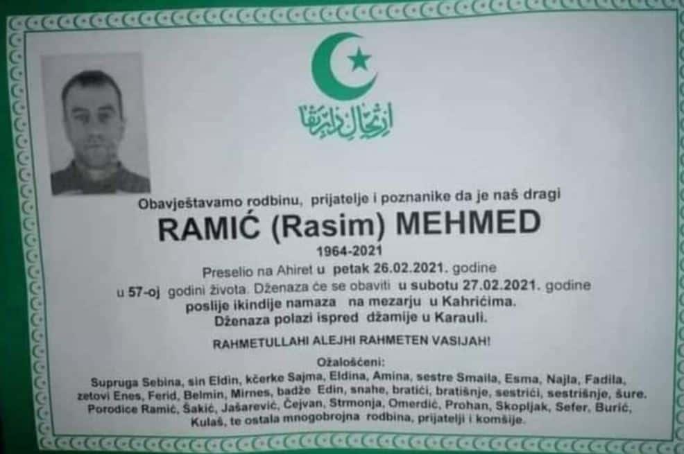 Preminuo Ramić Mehmed